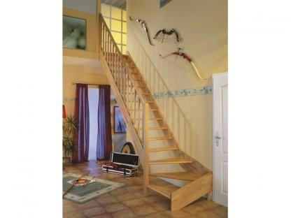 Mlynářské dřevěné schody bez podstup. 1/4 zatočení dole - buk - C.