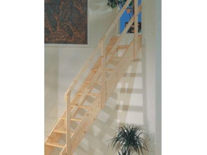 Mlynářské dřevěné schody rovné - smrk - B.