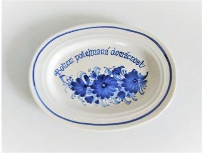 Oválný talířek s nápisem Bohem požehnaná domácnost - závěsný