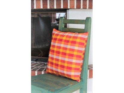 Ozdobný polštářek z kanafasu , Andrea 5, barevná kostka, 40x40 cm