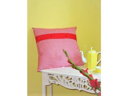 Ozdobný polštářek z kanafasu, Petr 0,3, červený proužek+červený pruh, 40x40 cm