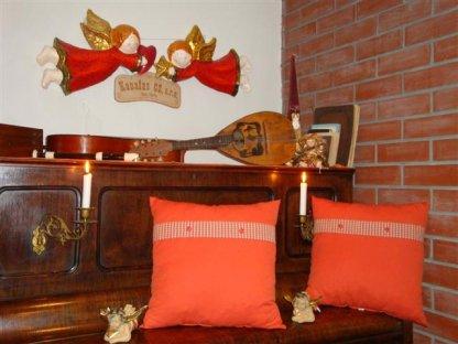 Ozdobný polštářek z kanafasu, Rezavá+drobná kostka+pruh Vendelín 0,3, 40x40 cm