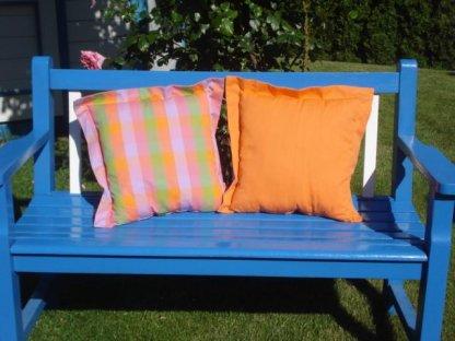 Ozdobný polštářek z kanafasu s lemem, Vendy, barevné kostky+oranžová, 40x40 cm