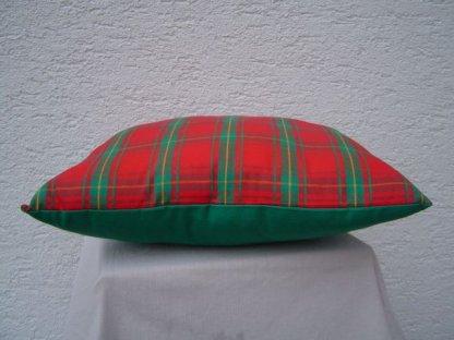 Ozdobný polštářek z kanafasu, Zuzana, červeno-zelené kostky+zelená, 40x40 cm