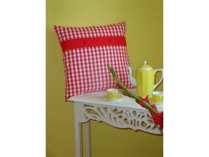 Ozdobný povlak na polštářek z kanafasu Petr 1, červená kostka+červený pruh, 40x40 cm