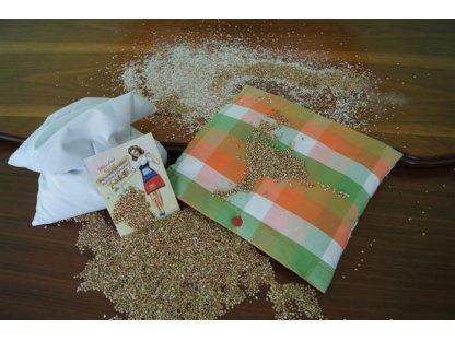 Pohankový polštářek z kanafasu léto, barevné kostky, 35x30 cm,