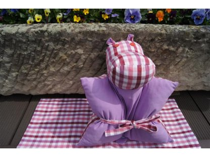 Polštářek z kanafasu Josefína K, fialová+růžové pruhy, 40x40 cm