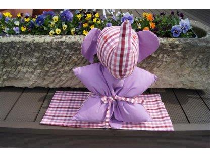 Polštářek z kanafasu, Josefína K+růžové proužky, slon, 40x40 cm