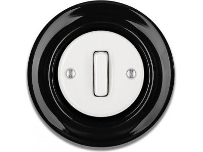 Porcelánový vypínač černobílý STIGMA jednoklapka - SLIM - 85
