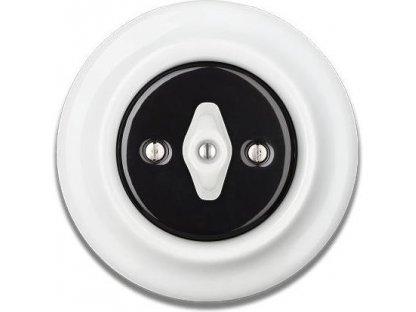 Porcelánový vypínač černobílý STIGMA otočný - 82