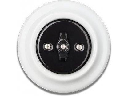 Porcelánový vypínač černobílý STIGMA otočný - 84
