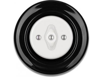 Porcelánový vypínač černobílý STIGMA otočný - 88