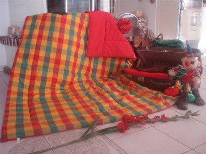 Přehoz na postel jaro 5-červená, 140x200 cm, bavlna, kanafas