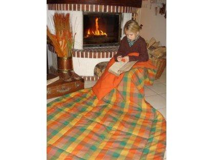 Přehoz na postel Julie 5 + rezavá prodloužený, 140x220 cm, bavlna, kanafas