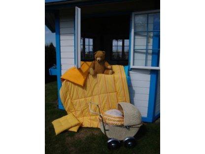 Přehoz na postel Laura, pruh+zlatá prodloužený, 140x220 cm, bavlna, kanafas