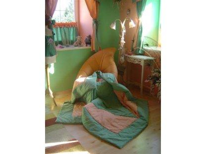 Přehoz na postel Losos+zelená 39, 140x200 cm, bavlna, kanafas