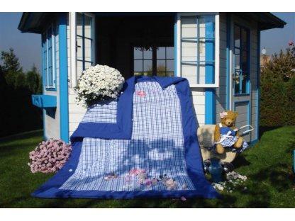 Přehoz na postel Majka, kostka s modrým lemem, prodl.140x220 cm, bavlna, kanafas