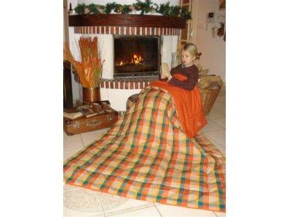 Přehoz na postel Narcis prodloužený,140x220 cm, bavlna, kanafas
