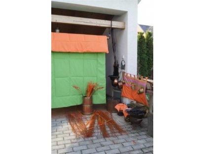 Přehoz na postel světle zelená/oranž nadstandard, 140x220 cm, bavlna, kanafas