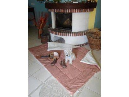 Přehoz na postel Vendelín, 0,3+režná 140x200 cm, bavlna, kanafas
