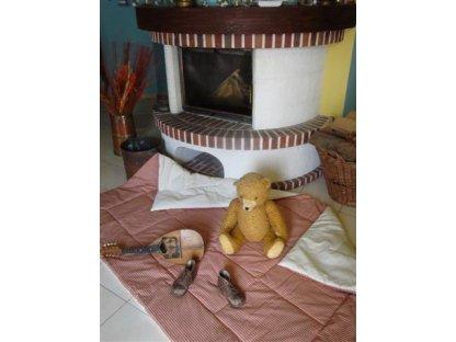 Přehoz na postel Vendelín, 0,3+režná , prodloužený 140x220 cm, bavlna, kanafas