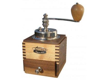 Ruční mlýnek na kávu dřevěný, 1945 Lux ořech, třešeň, 20x10x10 cm