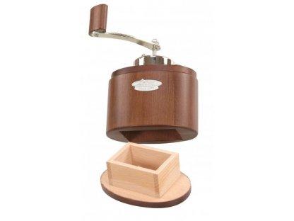 Ruční mlýnek na kávu dřevěný, Ovál hnědý 19,5x13x5x9 cm vč. kličky