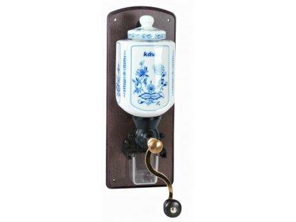 Ruční mlýnek na kávu nástěnný, porcelán-dřevo-cibulový vzor, 34x13 cm . I.