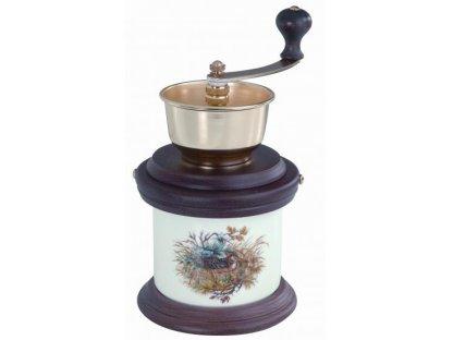 Ruční mlýnek na kávu -porcelán, dřevo, 1935, tmavě rámovaný, v. 23 cm