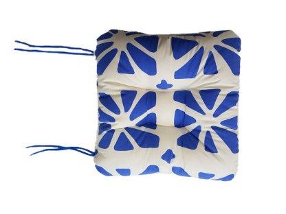SEDÁK NA KŘESLO - bílá a modrá - 50x50 cm