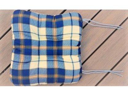 Sedák na židli - káro modré