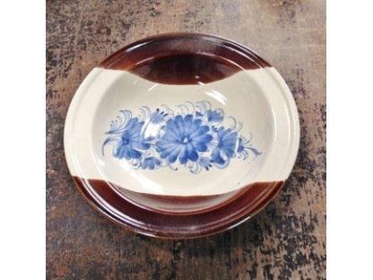 Talíř hluboký, modré květy s hnědou