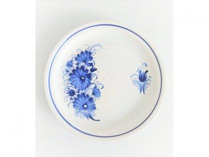 Talíř keramický mělký s modrými květy