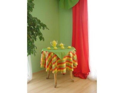 Ubrus Ilona+zelená 36, kulatý průměr 140 cm+napron