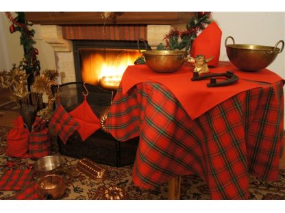 Ubrus Zuzana průměr 140 cm+4x ubrousek červený, vánoce