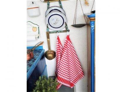 Utěrka kanafas, červená a bílá kostka, 50x60 cm