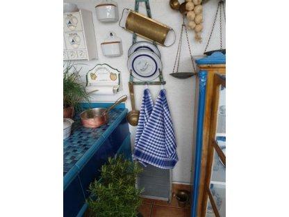 Utěrka kanafas, modrá a bílá kostka, 60x50 cm