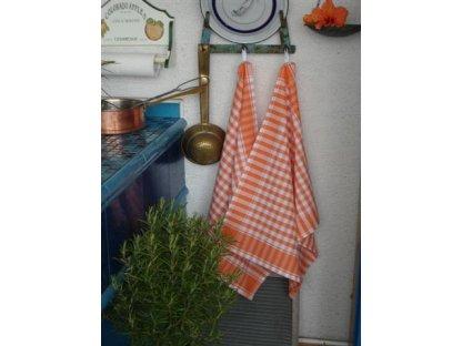 Utěrka kanafas, oranžová a bílá kostka, 60x50 cm