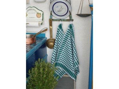 Utěrka kanafas, zelená a bílá kostka, 60x50 cm