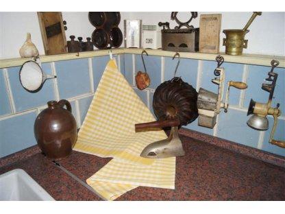 Utěrka kanafas, žlutá a bílá kostka, 60x50 cm