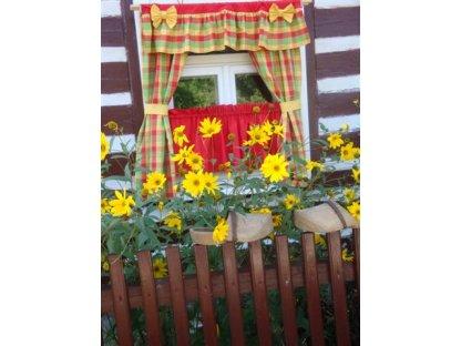 Závěs a záclonka do okna Ilona+červená, 100x110 cm