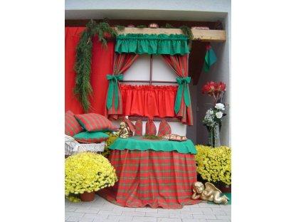 Závěs a záclonka do okna Zuzana+červená, 100x110 cm, vánoce