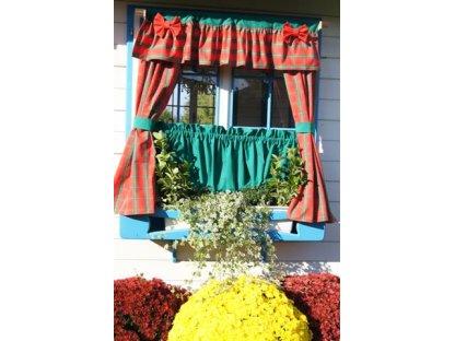 Závěs a záclonka do okna, Zuzana+zelená, 100x110 cm, vánoce