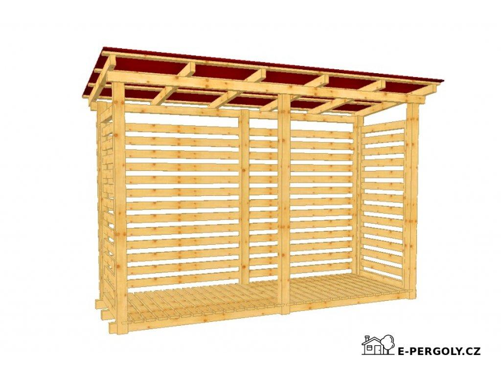 Dřevník Béďa 10300 střecha trapéz plech