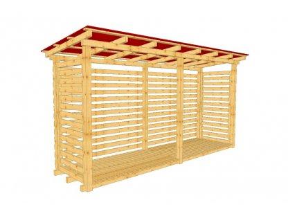 Dřevník Béďa 10400 střecha trapéz plech