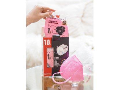 Růžový respirátor FFP2 10 ks