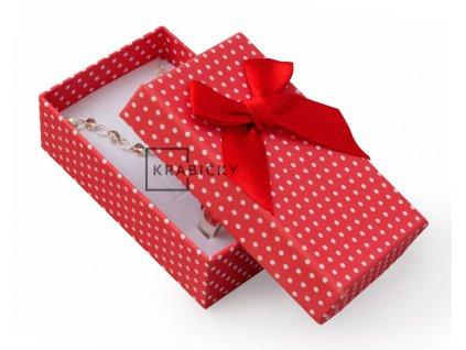 Dárková krabička na přívěsky - barva červená s mašlí