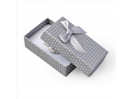 Dárková krabička na přívěsky - šedá s mašlí