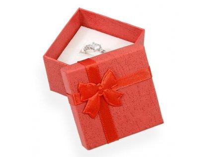 Dárková krabička na prsten nebo náušnice - barva červená s mašlí