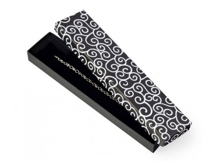 Dárková krabička na řetízky - černá s ornamentem